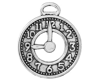 5 Pieces Antique Silver Clock Charms, 25 x 21mm