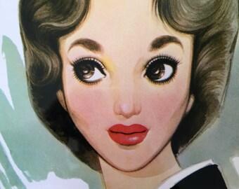1960s JUNICHI NAKAHARA Big Eyed Girl Print Perfect for Framing