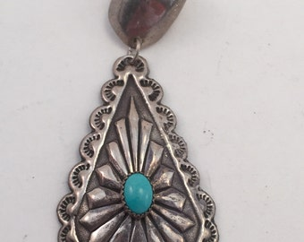 Old New stock Navajo stamped and repousse turquoise