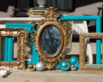 GOLD & AQUA Picture Frame Set / Shabby Chic Frames / Ornate Vintage Frames / Gallery Wall Decor