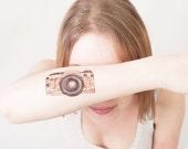 Floral Camera Temporary Tattoo