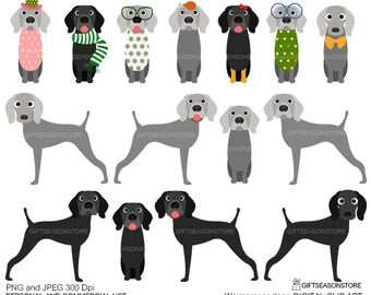 Weimaraner dogs digital clip art for Personal and Commercial use - INSTANT DOWNLOAD