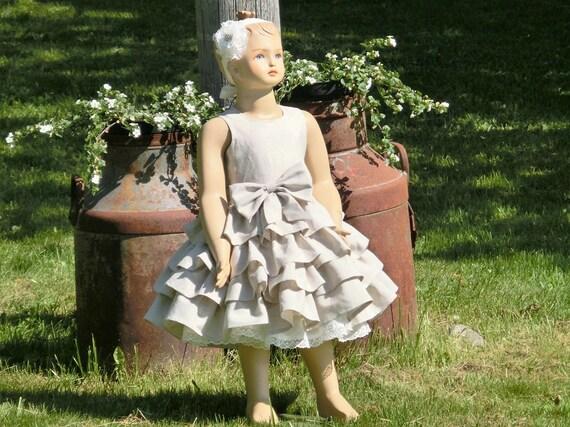 Country flower girl dress, flower girl dress rustic, beige flower girl dress, flower girl linen dress, baby girl linen dress country wedding