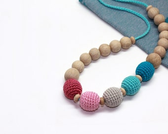 Crochet Nursing Necklace in Bright Colors-Teething Necklace-Bright Wooden Breasfeeding Necklace- Jewelry for Mom and Baby