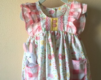 Honey bunny dress, easter dress, girls dress, baby dress, toddler easter dress, spring dress