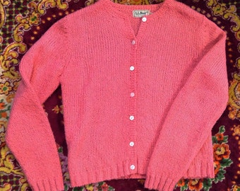 1980s LL Bean pink spring knit cardigan mother of pearl flower buttons