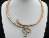 Metallic scaled snake necklace/ painted with silver gold copper powder/ flexible Fimo snake around the neck/ easy to bend open.