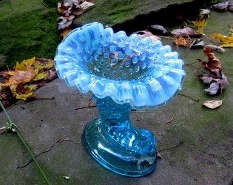 fenton blue hobnail cornucopia vase