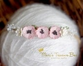 newborn headband, newborn tieback, pink flower headband, baby girl headband, photo prop,newborn photo prop, pink headband, infant headband