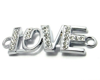 Love Connector - Sideways Connector - Silver Love Charm