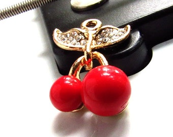 Cherry Cherries Charm in Gold and Red Enamel with Crystal Rhinestones 23 x 15mm