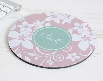Floral Print Mouse Mat – personalised mouse pad – round mousepad – desk decor - personalized graduation gift - coworker gift - p13