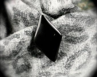 Black Obsidian freeform pin brooch 47x28mm