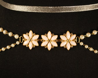 Floral white and gold lolita belt