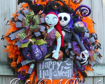 Nightmare Before Christmas Wreath, Pumpkin King Wreath, Halloween Wreath, Purple Lights, Sally and Jack Skellington Wreath, Happy Halloween