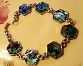 BRACELET: Beautiful Abalone Shell Silver Chain Link  Beaded Bracelet