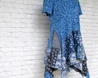 Lagenlook Clothing - Long Tunic - Mori Girl - Bohemian Clothing - Gypsy Clothing - Handmade Clothing - One of a Kind Top - Women's Blouses