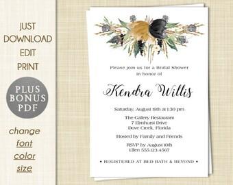 autumn fall winter bridal shower invitation editable pdf instant download diy printable