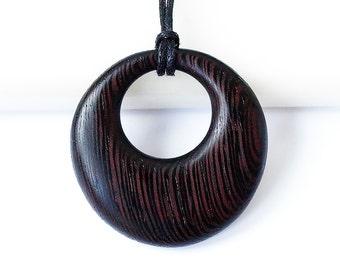 Wood necklace, Round necklace, Round wood necklace, Wenge pendant, Wood pendant, Wood jewelry, Wood round pendant, Black wood, Black pendant