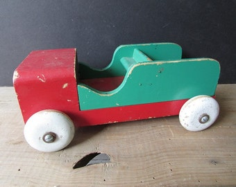 Folk Art Truck Vintage Green and Red Primitve Rustic
