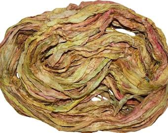 Recycled Sari Silk Ribbon Yarn,3.5 oz / 100 grams, 60 yards Bulky,  Yellow pinkishh