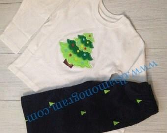 Custom Corduroy Christmas Tree embroidered Pants - Custom Made Ruffle Pants