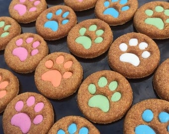 Gourmet Dog Treats - Peanut Butter Puppy Paws Decorated Dog Treats