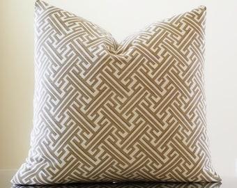 Decorative pillow Trellis Sand - Geometric Trellis reversible print pillow cover, Pick Your Pillow Size - fabric both sides