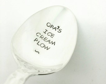 Opa's Ice Cream Plow Stamped Spoon, Gift for Dad, gift for Father, Gift for Grandpa, Gift for Him, Gift for Opa