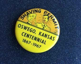 Shaving Permit ~ Vintage 1960s Souvenir Pinback Button