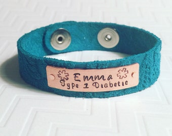 Medical Alert Bracelet - Leather Bracelet - Type 1 Diabetic - Hand Stamped Personalized