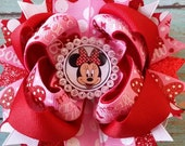 Minnie Hair Bow...Minnie Mouse Inspired Hair Bow...Red and Pink Hair Bow...4 inch Hair Bow...Disney Hair Bow...Minnie Bling Bow