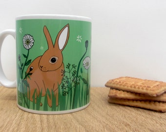 Rabbit mug, featuring a Rex rabbit and  a Dutch rabbit