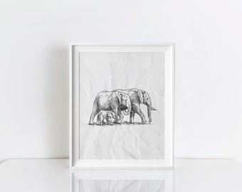"Black And White ""Elephant Family"" Wall Art Decor Printable , Digital Download"