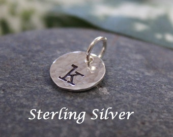 """Sterling silver initial charm - 9.5mm (3/8"""") - round - textured initial charm"""