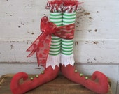 "Primitive Folk Art~ Christmas Elf Shoes 12 1/2"" Tall Striped Legs~HAFAIR TEAM"