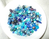 Colorful Blue Glass Bead Mix Assorted Sizes destash lot Bead Soup Craft Supplies
