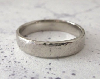 Palladium Wedding Band - Hand Shaped Slim Court Wedding Band - Hammered Ring - 5mm - Palladium Wedding Band