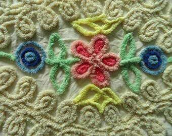 """Floral Chenille with Pink and Blue Flowers and Loops Vintage Bedspread Fabric  Piece... 19 x  22"""""""