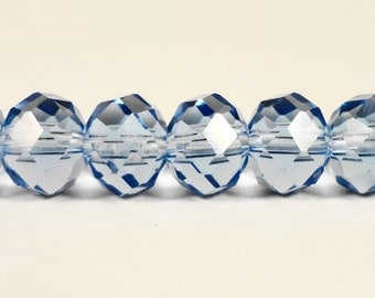 """Rondelle Crystal Beads 10x8mm (8x10mm) Periwinkle Blue Faceted Chinese Crystal Glass Beads for Jewelry on a 7 1/4"""" Strand with 24 Beads"""