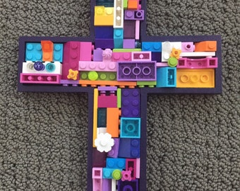 Handmade mosaic cross,  communion, baby gift, toy brick cross