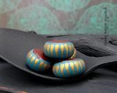 Flat Round Rondelle Bead - Matte Finish Handmade Polymer Clay Brown Teal Bronze Striped Boho Hippie Rondelle Bead - 12mm - Pkg. 4