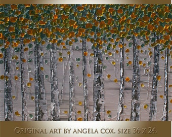 Original Modern  Yellow   Birch    Heavy Impasto Texture  Palette Knife  Acrylic  Landscape    Painting. Size 36x 24.