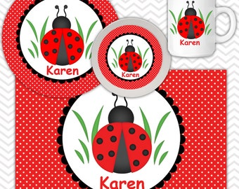 Ladybug Red Black Plate & Bowl Set - Personalized Lady bug Plate Set - Customized Plate and Bowl - Melamine Plate and Bowl Set for Kids
