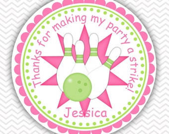 Bowling Pink - Personalized Stickers, Party Favor Tags, Thank You Tags, Gift Tags, Address labels, Birthday, Baby Shower