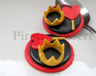 Edible Cupcake toppers Alice in Wonderland-Queen of Hearts Crown and Scepter- Wonderland Fondant cupcake decorations (3 pieces)