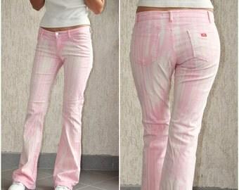 Vintage MISS SIXTY Stretch Pants W 28-29 L 32 Cotton Denim Trousers Pink Print Casual Wear
