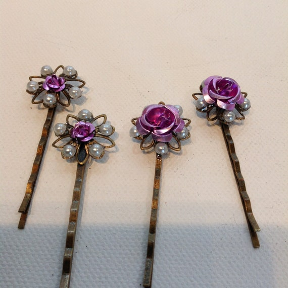 HAIRPIECES, BOBBIE PINS, Purple Aluminum Bobbie Pins, /4 Pins