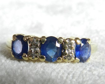 Sapphire Ring Sapphire Engagement Ring Three Stone Ring Genuine Blue Sapphire Ring 14K Gold Ring September Birthstone September Birthday