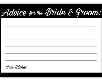 Guajolote Prints Wedding Advice Cards for The Bride & Groom 24 Count Black